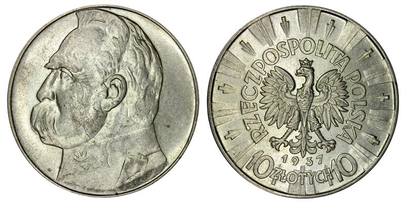 10 злотых серебро 1937 года цена стоимость 5 гривень 2005 год монета