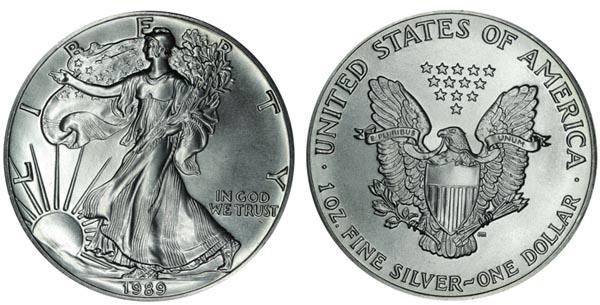 Монета. сша 1 доллар, 1989 год. шагающая свобода. unc. сер.9.