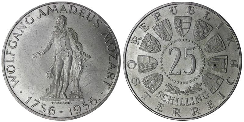 25 шиллингов австрия 1956 оценить монету бесплатно