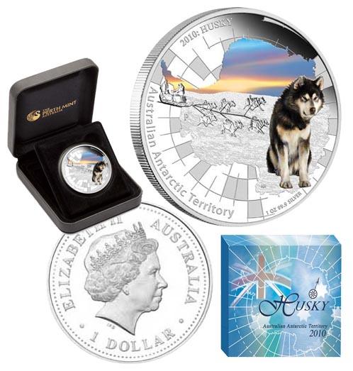 Австралийский 1 доллар хаски 2010 10 копеек 1830 года цена серебро