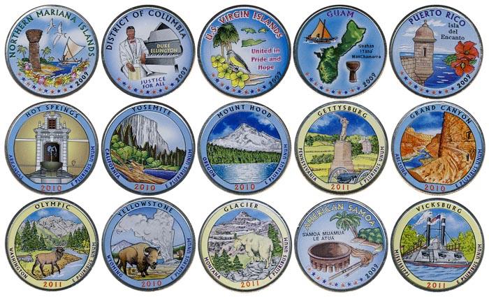 25 центов сша цветные редкая пятирублевая монета