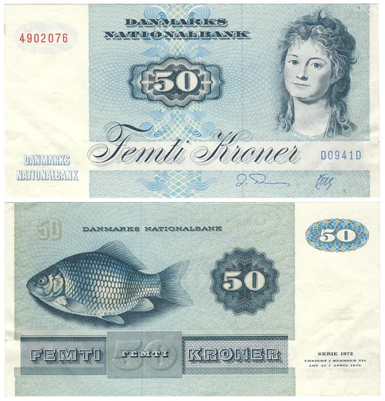 Дания: банкнота 50 крон (1944) вид спереди