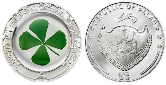 Монета клевер четырехлистный elvetia