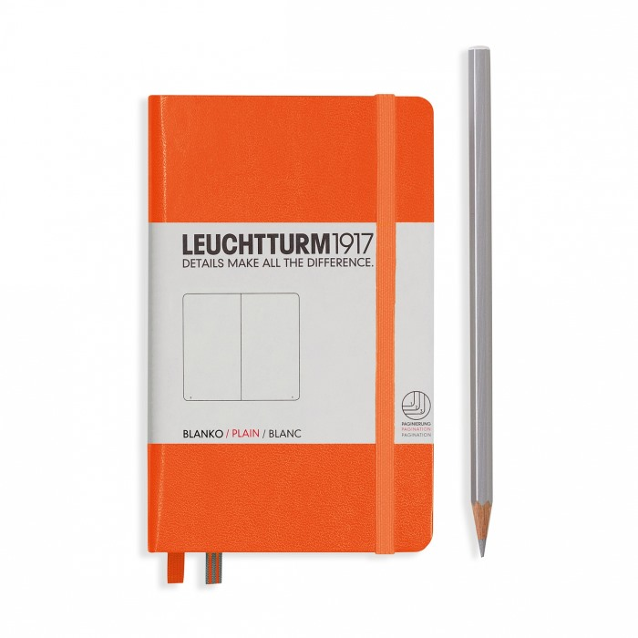 Книга для записей POCKET A6 на 185 страниц нелинованные, ORANGE. Leuchtturm1917, #342932