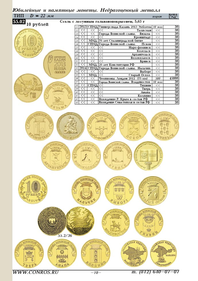 памятные монеты - недрагоценный металл