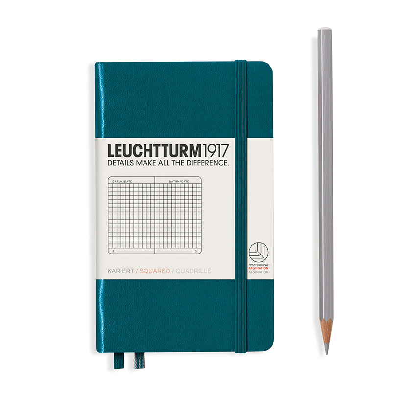 Книга для записей POCKET A6 на 185 страниц в клетку, PACIFIC GREEN. Leuchtturm1917, #359701